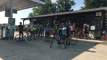 Cycling group picture at a rest stop on route to Reidsville